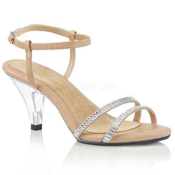 Klassische Sandalette mit strassbesetzten Riemchen nude Kunstleder BELLE-316